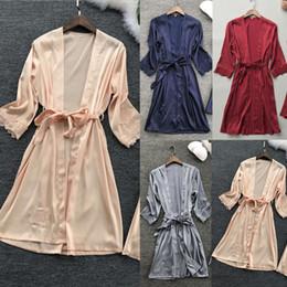 623650b189 Women Night Robe Sexy Lace Silk Robes Nightwear Long Sleeve Lace Up Dressing  Gown Kimono Sleepwear Ladies Nightgown Night Wear