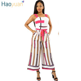 6bc4145cad8 HAOYUAN Plus Size Rompers Womens Jumpsuit Boot Cut Pants Summer Overalls  Ladies Elegant Striped One Piece Bandage Sexy Jumpsuits