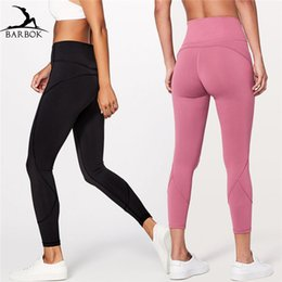 Wholesale BARBOK Hip Up Yoga Pants Women Fitness Super Stretchy Sport Tights Anti sweat High Waist Running Gym Athletic Leggings Size XS L