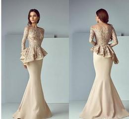 Plus Size Peplum Prom Dresses Australia - Champagne Lace Stain Peplum Long Evening Formal Wear Dresses 2018 Sheer Neck Long Sleeve Dubai Arabic Mermaid Prom Dress Saiid Kobeisy