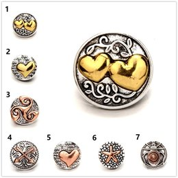 $enCountryForm.capitalKeyWord Canada - 20PCS lot heart shapes punk Antique Snap Jewelry Alloy Metal Button Charms Fit 18mm Snap Bracelet Bangles Necklace