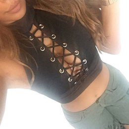 Cropped Tees Canada - Fashion Women Ladies crop top Round Neck Sleeveless Tee Crop Tops front cross bandage Cropped Colete Feminino