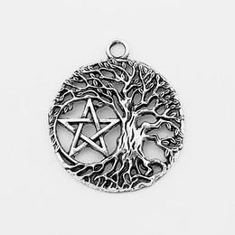 10 pcs Prata Tibetana Oco Aberto Árvore Vida Yggdrasil Pentagrama Pentagrama Encantos Pingente Para Colar de Jóias Descobertas Jóias Bijoux