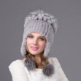 Discount hats models - Female models Autumn and winter Rex rabbit fur  earmuffs cap cotton lining f990b5a5602d