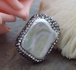 $enCountryForm.capitalKeyWord Canada - R071012 16x20mm White Keshi Pearl Trimmed With Marcasite Ring