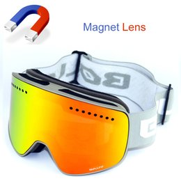double lens ski goggles Canada - High Quality Magnetic Ski Glasses Double Lens mountaineering glasses UV400 Anti-fog Ski Goggles Men Women snowmobile spectacles