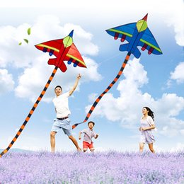 Discount cloth toys patterns New Pattern Aircraft Kite Is Loved By Children And Adults Easy To Fly Large Cartoon Triangle Kites 8 5yc W
