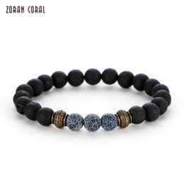 $enCountryForm.capitalKeyWord NZ - Zoran Coral 8MM Black Lava Stone Beads Bracelet Charms Bracelets for Women Men Jewelry Gift pulseira masculina bileklik feminina