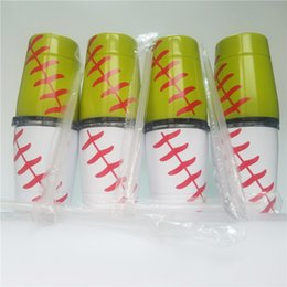 baseball mugs NZ - Mini 9oz Baseball Cup wine glasses Stainless Steel Tumblers Travel Vehicle Beer Mug non-Vacuum mugs with straws lids