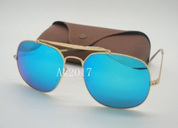 Mens colorful sunglasses online shopping - 1Pair New Arrival High Quality Mens Womens General Colorful Sunglasses Gold Metal Sun Glasses Green Mirror mm Glass Lenses With Brown Case