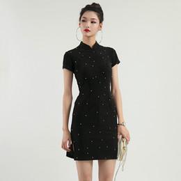 2d6264e332b7 womens black cheongsam bead handmade summer elegant chinese dresses office  ladies silver modern slim wedding qipao Bridesmaid