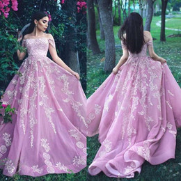 full lace pink dresses Australia - Full Lace Applique Evening Pageant Dresses 2019 Modest Off Shoulder Pink Princess Dubai Arabic Middle East Occasion Prom Gown