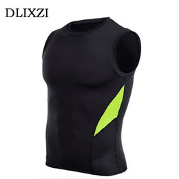 mens tank wholesale fashion 2021 - Wholesale- mens sleeveless compression vest summer fashion bodybuilding tanks tops male fitness workout muscle shirt gilet