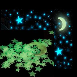 diy country home decor Australia - Super Moon Green Glow In The Dark Stars 3D Wall Stickers For Kid Room DIY Mural Decor Wall Decal Home Decor Luminous Sticker