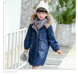 Wholesale Pydownlake Big Teens Girls Denim Outerwear Children Winter Hooded Coats Kids Warm Jeans Jacket Girls Thick Long Clothes