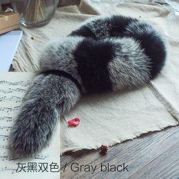 Fox Fur Scarfs NZ - SCM046 Genuine real natural Raccoon Fox Fur Scarf Scarves Neck Warmer Wrap Cape Shawl Poncho Stole 72cm*10cm