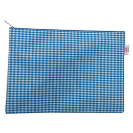 $enCountryForm.capitalKeyWord UK - 2Sets Bai Ju A4 waterproof plaid zipper file bag information bag office storage documents blue