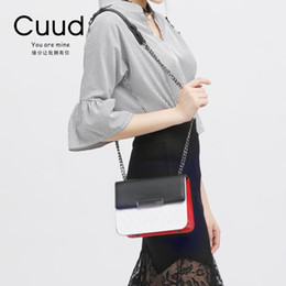 Discount lades hand bags - delin 22 new female bag chain cover small bag rhombic cross hand bill of lading shoulder black red white matching