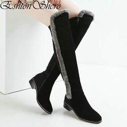 fur platforms 2019 - EshtonShero Shoes Woman Over The Knee Boots Cow Suede Fur Square Low Heel Women Platform Ladies Motorcycle Boot Size 34-