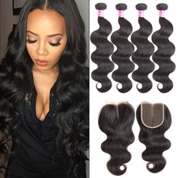 Discount 16 inch peruvian closure hair - Hot brazilian virgin hair body wave with 4x4 lace closure unprocessed peruvian virgin hair Cheap Human Hair Extensions