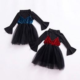 Cute Outfits For Spring Canada - 2018 Cute Toddler Clothing Baby Girl Flare Long Sleeve Tops + Slip Dress 2Pcs Girls Outfits Spring Autumn Girls Clothing Sets for Kids 1-5T