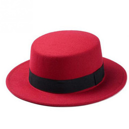 Blue Bowler hats online shopping - England Vintga Style Elegant Women Wool wide brim Boater Flat cap Top bowler Hat ladies Female Felt Wide Brim Fedora Hat