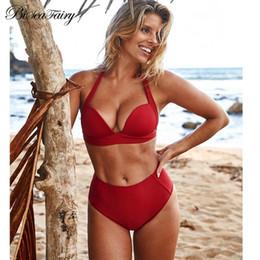 2dcbcc4ae BISEAFAIRY 2018 Bikinis de cintura alta Bañadores para mujer Traje de baño  Tallas grandes Traje de baño Empujar hacia arriba Crop Top Bikini de cuello  alto ...