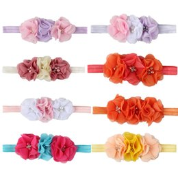 Wholesale TELOTUNY baby girl headbands PC Kids Baby Pearl Flower Hair Wear Chiffon Band Headband for girls headband