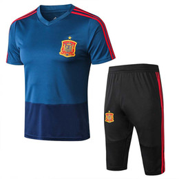 world cup kits UK - Spain Training Socccer Jersey Set World Cup 2018 Spain Soccer Set Three Quarter Pants Kit MORATA ISCO RAMOS ASENSIO Football Uniforms