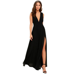 Chinese  Best selling Women summer Chiffon Sexy Deep V Neck Backless Ball Gown dress Casual ladies Solid Long Wedding Party Night Dresses manufacturers