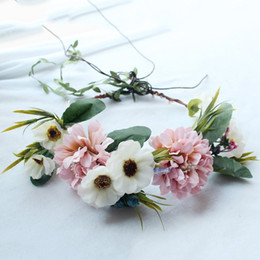 Discount artificial hair accessories - Women Head Flower Wreath Artificial Daisy Flower Hair Garland Bridal Party Decorative Floral Hairband Beach Photo Hair A