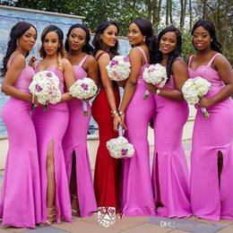 $enCountryForm.capitalKeyWord NZ - Pink Bridesmaid Dresses Cheap Mermaid Spaghetti Straps vestidos de dama de honor Wedding Guest Dress Side Split Nigerian Dresses SB093
