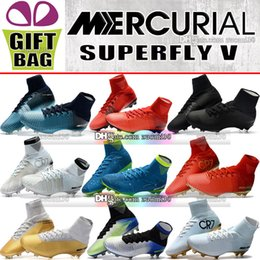 Discount soccer cleats High Ankle Mercurial Superfly CR7 FG Soccer Shoes Cristiano Ronaldo Football Boots Mercurial Superfly V AG Neymar JR ACC Socks Soccer Cleats