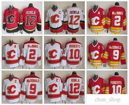 Men 12 Jarome Iginla Jersey Calgary Flames 2 Al Macinnis 9 Lanny McDonald  10 Gary Roberts Vintage CCM Stitched Hockey Jerseys b8458d9a9