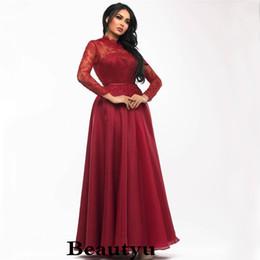 636124140e306 Burgundy Saudi Arabia Prom Dresses Elegant Chiffon Lace Arabic Dubai Kaftan  Muslim 2018 Plus Size A Line Long Sleeve Formal Evening Gowns