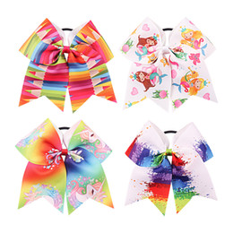 Colorful hair girls online shopping - 4 styles Mermaid unicorn printed hairbands baby girls colorful rainbow big bowknot hair ribbon children gift Party Favor AAA871