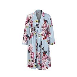Long Nightdresses Cotton Australia - Women Maternity Sleepwear Kimono Bathrobe Long Sleeve Cotton Blend Soft Nightwear Women's Flower Pregnant Nightdress Nightgown