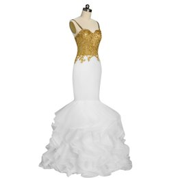 $enCountryForm.capitalKeyWord UK - Real Photos Sexy Long Mermaid White and Gold Prom Dress 2017 Spaghetti Strap Appliques Lace Ruffled Organza Evening Gown