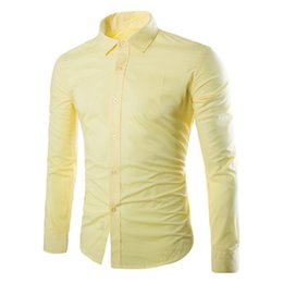 Male Clothing Styles Canada - Spring Wear Blouse Male Casual Warm Tops Business Man Office Clothing Boys Blusa Yellow Shirt Young Korean Style Men Slim Shirts