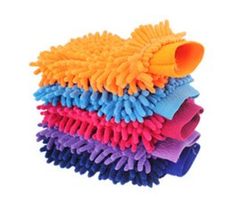 Car Screen Wash UK - Chenille Gloves Double Side Coral Gloves for Car Glass Floor washing tools(5 PCS color random)