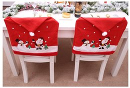 nonwoven hats Australia - Nonwoven chair cover Cartoon elderly Snowman stool cover Christmas hat chair set Chair back covers Christmas decorations
