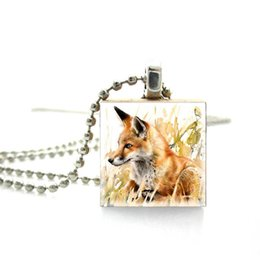 $enCountryForm.capitalKeyWord UK - 2019 Fashion Abstract Art Drawing Fox Painting Red Scrabble Pendant Jewelry Wooden Scrabble Tile Silver Ball Chain Necklace