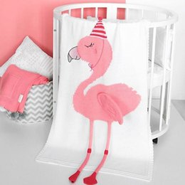 HigH quality baby bedding online shopping - Unicorn Flamingo Blanket Wool Yarn Knitting Cotton Throw Kids Baby Autumn Winter Warm Bedding Shawl High Quality qt hh