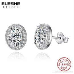 Discount 925 silver austria crystal - ELESHE 925 Sterling Silver Vintage Elegance Stud Earrings with Clear CZ Oval Austria Crystal Earrings for Women Mother&#