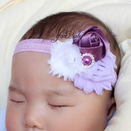 Rosette baby kids online shopping - Shabby rosette floral headband for kids Baby pearl rhinestone flower headband girl flower elastic headband ifanbaby
