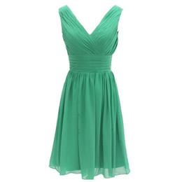 Robe de demoiselle d'honneur courte sexy en mousseline de soie verte Une ligne femmes robes de soirée à volants taille haute demoiselle d'honneur en Solde