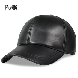 Chinese  HL008 man Spring Leather Adjustable Solid Deluxe Baseball Ball Cap brand new men's black sport golf trucker hats & caps manufacturers