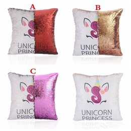 magic pillow wholesaler UK - Home MAGIC Unicorn pillow case Sequin GOLD RED Purple Cushion Covers two-side Changeable Sofa rooms decoration 3styles
