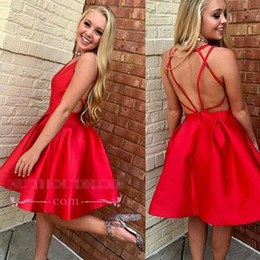 4ca5d75758b 2018 New Red Short Homecoming Dresses Sexy Back Backless Criss Cross Straps  Satin Prom Cocktail Party Dress BA9937