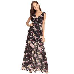Suit-dress Dress High Leanthin Back Deep V Printing Chiffon Vest Longuette f662e2e80